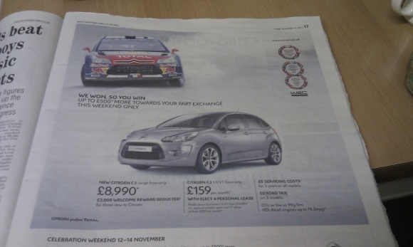 Citroen ad from the Cambridge News