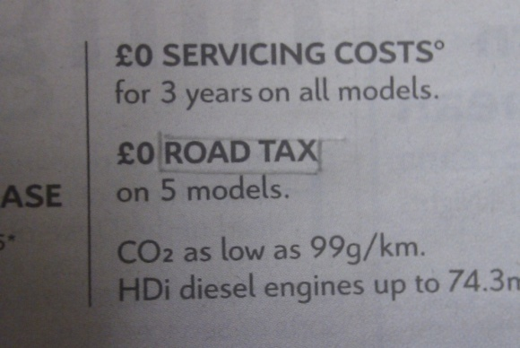 Citroen ad: mention of archaic 'road tax'