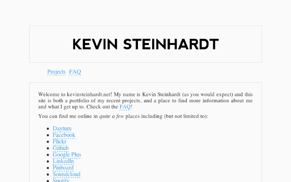 Screen capture of kevinsteinhardt.net